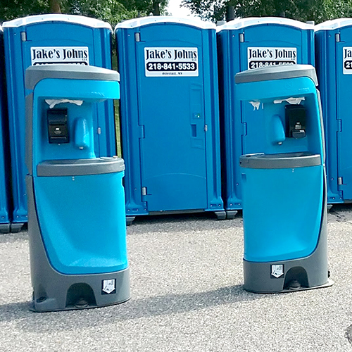 porta potties and hand wash stations